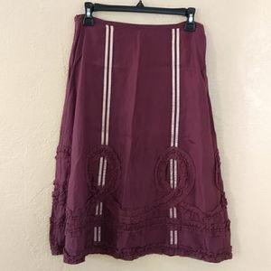 Odille Purple Ribbon Ruffle Silk Skirt Size 6